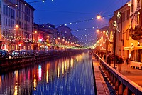 Italy, Lombardy, Milan, the Naviglio with Christmas lights                                                                                            ...
