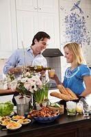 Couple at brunch buffet