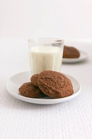 Chocolate biscuits and a glass of milk