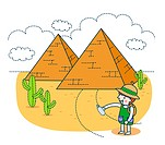 Illustration of girl in front of pyramids of Giza
