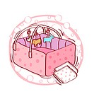 Illustration of baby crib with napkins