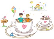 Young couple in cup and saucer with balloons attached
