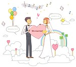 Illustration of newly wed couple with rainbow in background