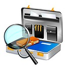 Illustration of magnifying glass and briefcase