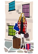 Fashionable woman with luggage