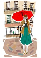 Illustration of woman holding umbrella