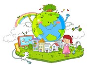 Happy Earth And Girl