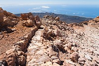 Path at the top of climbing to Mt Teide
