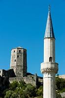 Podgrad mosque, VIllage of Pocitelj, Capljina municipality, Bosnia and Herzegovina, Europe  municipality, Bosnia and Herzegovina, Europe.