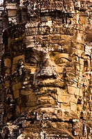 Closeup of stone face, Bayon, Angkor Thom, Angkor Wat, Angkor, Cambodia. Angkor Wat,a World Heritage Site, is a temple at Angkor, Cambodia, built for ...