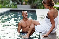 Couple in spa pool