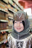Wearing knight costume