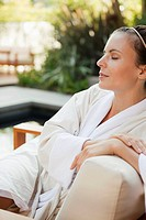 Portrait of woman relaxing in spa