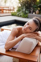 Woman relaxing in health spa