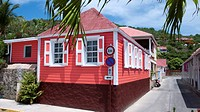 Bright pink wooden house port Gustavia St Barts
