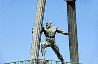 Hercules & Pillars Statue at Entrance to Ceuta Harbour or Port Ceuta Spain