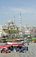 Yeni Camii, The New Mosque or Mosque of the Valide Sultan located in the Eminönü district of Istanbul, Turkey. It is situated on the Golden Horn at th...