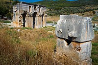 City gate and Lycian tomb  Patara ruins  Antalya province  Mediterranean coast  Turkey