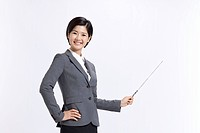 Businesswoman holding Pointer Stick
