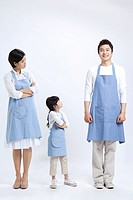 Happy family in apron