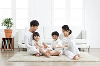 Happy family in livingroom