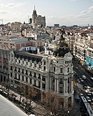 Madrid skyline from the roof of the Circulo de Bellas Artes  Looking over the Metropolis building towards the telifonica building on the Gran Via  Mad...