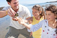 Father and daughters looking at small crab on sunny beach