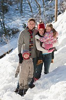 Portrait of smiling family on snowy slope