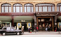 Harrods is an upmarket department store located in Brompton Road in Brompton, in the Royal Borough of Kensington and Chelsea, London, UK