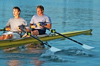 Rowers rowing in a double scull rowboat