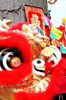 Close up of a red chinese lion head