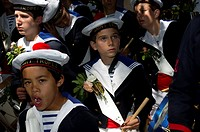 Europe, France, Var, 83, St  Tropez, the bravado, young sailor during the parade