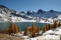 Lake Allos in Winter Mercantour National Park Alpes-de-Haute-Provence French Alps France