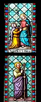 Part of the Stained Glass Window depicting on the upper scene the Visitation of Virgin Mary holding a long cane by the kneeling St. Elizabeth, and on ...