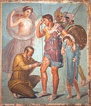 The doctor Iapyx or Lycaon uses a scalpel to remove an arrowhead from Aeneas´ thigh, after he had been wounded during the Trojan War. Aeneas leans on ...