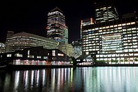 Canary Wharf skyscrapers in London at night