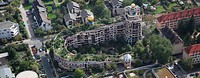 Residential building complex Waldspirale, Darmstadt, Germany, aerial photo