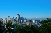 Seattle with Space Needle and Mt Rainier in background, Washington, USA