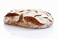 Rye bread loaf on white background, close up