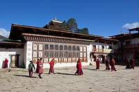 Monks in the Gantey Monastery, Bhutan