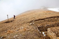 MONTE BALDO _ Walking on the Monte Altissimo, a peak to the north of Monte Baldo, a scenic mountain above the Lago di Garda Garda Lake, province of Tr...