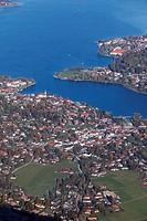 Germany, Bavaria, Upper Bavaria, View of village and tegernsee lake