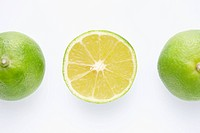The whole limes and a lime in half