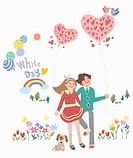 The couple holding the heart balloon with the white day word