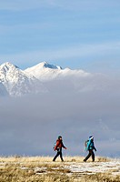 Two women hiking in the Sierra Foothills outside of Lake Tahoe, California.
