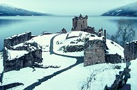 Urquhart Castle ruins in winter, Loch Ness, Scottish Highlands, Scotland, Great Britain