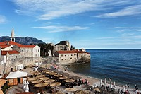 View of the citadel and city beach, Budva, Montenegro, Europe