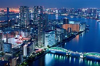 Kachidoki Bridge and Sumida River at Night