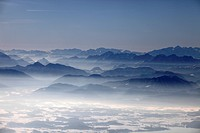 View south towards the Chiemgau and Austrian Alps, Chiemgau, Bavaria, Germany