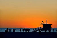 Beach in the sun set light, Santa Monica, California, USA